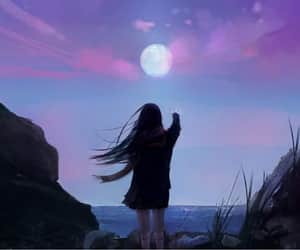 beautiful, girl, and moon image