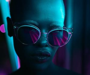 model, neon, and photography image