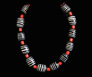 black white and red, chunky necklace, and retro necklace image