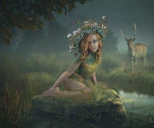 deer, fantasy, and wreath image