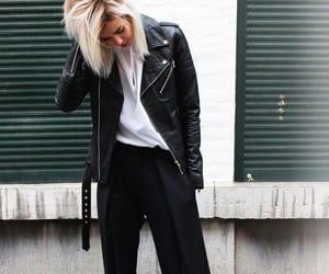 leather jacket, shorthair, and white tshirt image