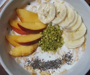 almond milk, peaches, and banana image