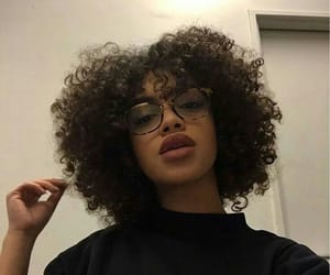 girl, glasses, and curly hair image