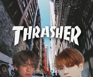tae, bts, and thrasher image