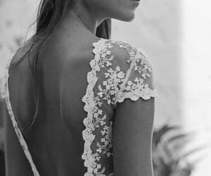 black and white, fashion, and bride image