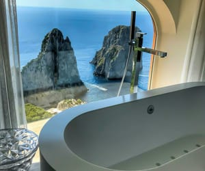 bathroom, bathtub, and luxury image