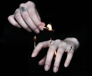 black, fire, and hands image