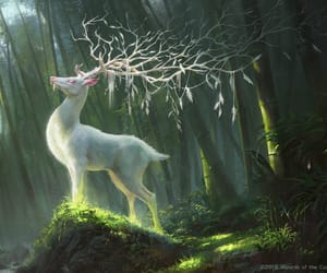 art, creature, and deer image