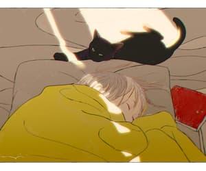 art, cat, and sleep image
