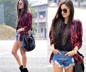 cool girl, flanel shirt, and long hair image