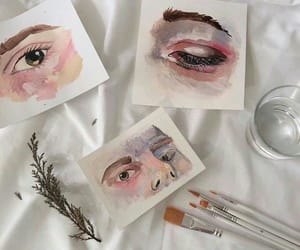 art, eyes, and pink image