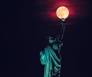 liberty, moon, and statue image