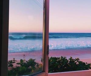 beach, window, and sea image