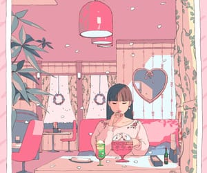 cafe, girl, and spring image