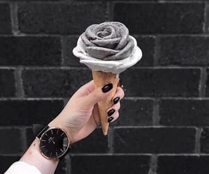 ice cream, food, and black image