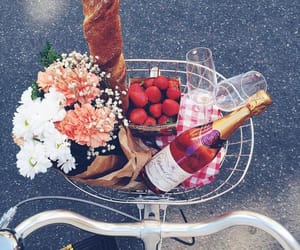 flowers, food, and bike image