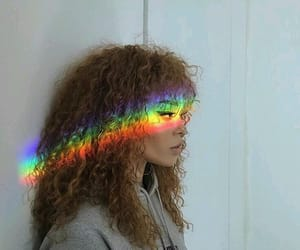girl, rainbow, and curly image