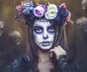 bones, flower, and girl image