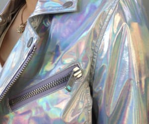 jacket, holographic, and grunge image