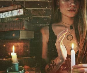 books, witchery, and candle image