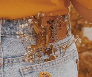 flowers, jeans, and yellow image