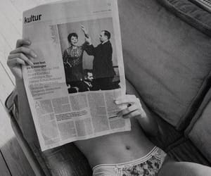 black and white, newspaper, and girl image