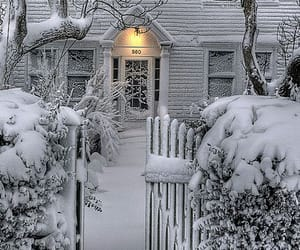 fence, winter, and home image