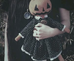 Halloween, doll, and pumpkin image