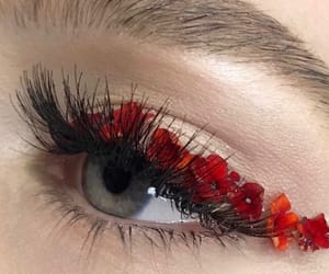 makeup, red, and eye image