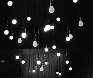 aesthetic, hanging lights, and black image