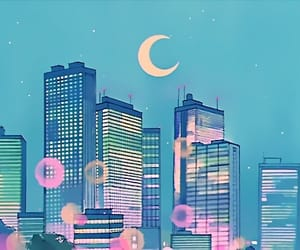 moon, anime, and city image