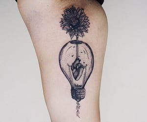 botanical, creative, and heart tattoo image