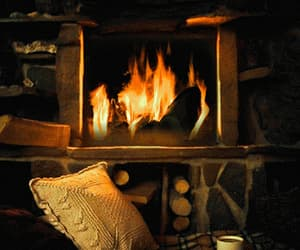 aesthetic, cabin, and fireplace image
