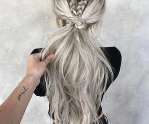 braids, girl, and ponytail image