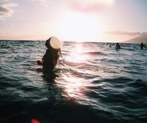 beach, sun, and girl image