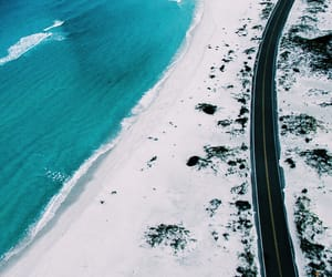 beach, ocean, and road image
