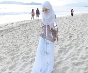 beach, beauty, and hijab image