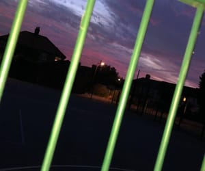blue, pink, and fence image