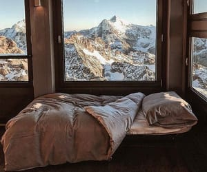 mountains, bedroom, and bed image