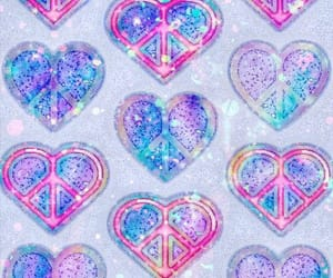 blue, hearts, and iridescent image