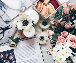 flowers, book, and ‎macarons image
