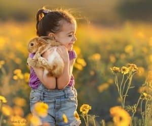 little girl, littlegirl, and her rabbit image