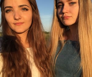 bff, blonde hair, and friendship image