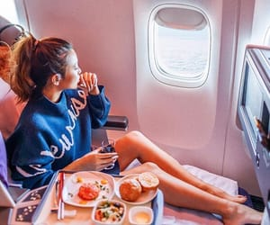 travel, plane, and girl image