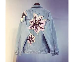 flowers, jacket, and jean image