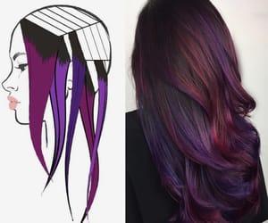 hair, purple, and dark image