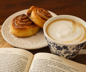 book, cappuccino, and coffee image