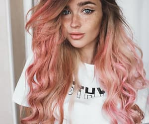 girl, pink, and beauty image