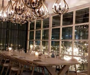 big window, cozy, and dining table image