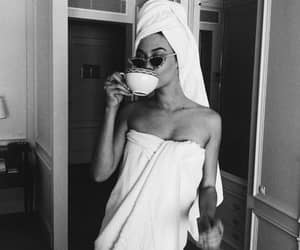 girl, coffee, and black image
